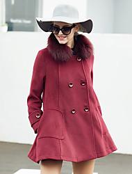 Damen Solide Einfach Lässig/Alltäglich Mantel,Winter V-Ausschnitt Langarm Rosa / Rot Mittel Wolle / Polyester