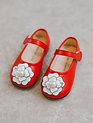 Girl's Flats Spring / Fall Comfort Leather Casual Flat Heel Flower Black / Red / White Others