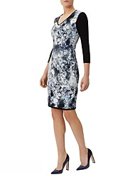 Women's V Neck Formal Vintage Print Above Knee  Sleeve Black  Mid Rise Sheath Dress Pencil Dress