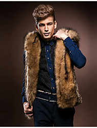 Men's Plus Size Street chic Fur Coat,Solid Hooded Sleeveless Fall / Winter Brown Faux Fur Thick