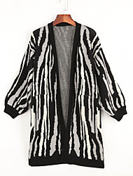 Women's Casual/Daily Simple Long Cardigan,Animal Print Black V Neck Long Sleeve Cotton Spring Medium