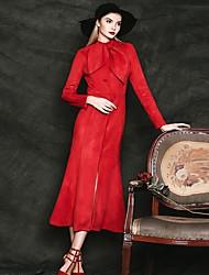 Feminino Casaco Casual Simples Outono / Inverno,Sólido Vermelho Algodão Colarinho Chinês-Manga Longa Grossa