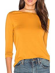 Damen Solide Einfach / Anspruchsvoll Ausgehen / Lässig/Alltäglich T-shirt,Rundhalsausschnitt Alle Saisons Langarm Gelb Kunstseide Mittel