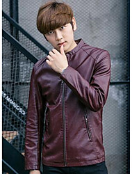 Men's Casual/Daily Simple Leather Jackets,Solid Shirt Collar Long Sleeve Fall Red PU Medium