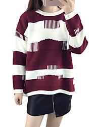 Damen Standard Pullover-Ausgehen Niedlich Einfarbig Rot Schwarz Lila Rundhalsausschnitt Langarm Baumwolle Herbst Mittel Mikro-elastisch