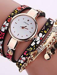 Women's Fashion Watch Wrist watch Bracelet Watch Quartz Colorful PU Band Vintage Flower Bohemian Charm Bangle Cool Casual Multi-Colored