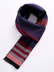 Men's Wool Blend Scarf Work/Casual/Calassic Scarf Nature and Warm with Blue Color
