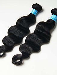 6A 2pcs 100g Black Loose Deep Wave Human Hair Weaves Peruvian Texture Human Hair Extensions