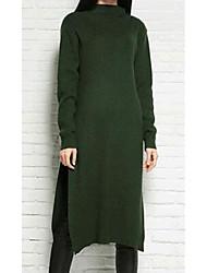 Feminino Solto Vestido,Casual Simples Estampado Decote Redondo Altura dos Joelhos Manga Longa Cinza / Verde / Roxo AlgodãoOutono /