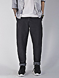 Men's Harem Jeans Pants,Casual/Daily Simple Solid Mid Rise Zipper Cotton Micro-elastic Spring / Fall