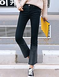 sinal coreia retro stretch fino preto e cinza denim calças boot-cut femininos calças de pernas largas