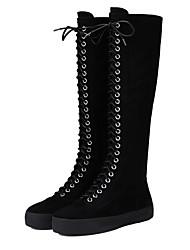 Damen-Stiefel-Lässig-Wildleder-Keilabsatz-Komfort-Schwarz