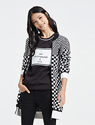 Metersbonwe Women's Casual/Daily Street chic Long CardiganCheck Black Stand Long Sleeve Polyester Winter Thick Micro-elastic