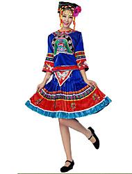 Costume de Soirée Cosplay Fête / Célébration Déguisement Halloween Bleu Fleur Haut / Jupe / Plus d'accessoires / Coiffure Féminin