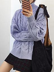 Normal Cardigan Femme Décontracté / Quotidien simple,Couleur Pleine Violet Col Roulé Manches Longues Acrylique Automne Hiver MoyenNon