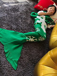 Yarn Knitted Mermaid Tail Blanket Super Soft Sleeping Bed Handmade Crochet Anti-Pilling Portable Blanket
