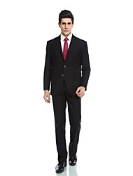 2017 Tuxedos Tailored Fit Notch Single Breasted Three-buttons Viscose)/ Wool & Polyester Blended Solid 2 Pieces Black