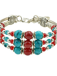 Bohemian Silver Color Imitation Turquoise Beads Chain Bracelets