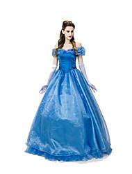 Fantasias de Cosplay Princesa Festival/Celebração Trajes da Noite das Bruxas Azul Cor Única Saia / Luvas Feminino