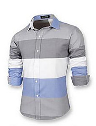 Men's Going out Simple Shirt,Striped Shirt Collar Long Sleeve Multi-color Cotton