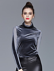 ZIYI Women's Casual/Daily Simple Fall / Winter ShirtSolid Stand Long Sleeve Black Polyester