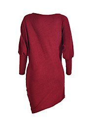 Women's Sexy / Simple Solid Round Neck Batwing Sleeve Bodycon Mini Sweater Dress