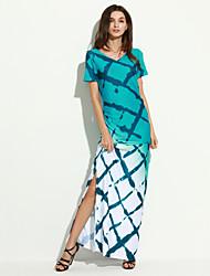 Moulante Robe Aux femmes Soirée / Cocktail Sexy,Imprimé Col en V Maxi Sans Manches Bleu Acrylique Eté