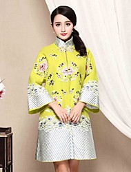 I-YECHO Women's Casual/Daily Chinoiserie Shift DressJacquard Stand Above Knee Long Sleeve Green Cotton Fall Mid Rise Micro-elastic Medium