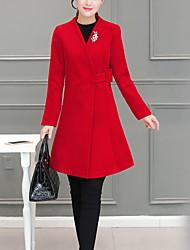 Damen Solide Einfach Lässig/Alltäglich Mantel V-Ausschnitt Langarm Schwarz Polyester