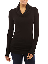 Women's Going out / Casual/Daily Simple / Street chic Fall / Winter T-shirtSolid Cowl Long Sleeve White / Black / Wine/Navy Blue