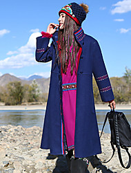Our Story Women's Casual/Daily Boho CoatEmbroidered Stand Long Sleeve Winter Blue Wool / Polyester
