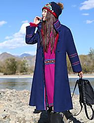 Feminino Casaco Casual Boho Inverno,Bordado Azul Lã / Poliéster Colarinho Chinês-Manga Longa