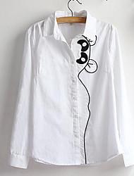 Женский На каждый день Весна / Осень Рубашка Рубашечный воротник,Простое Однотонный Белый Длинный рукав,Хлопок,Средняя