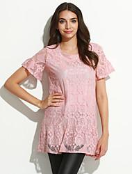 Damen Solide Einfach Lässig/Alltäglich T-shirt,Rundhalsausschnitt Frühling / Sommer Kurzarm Rosa / Grau Baumwolle Mittel