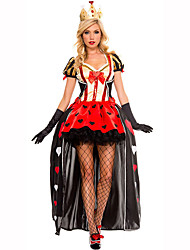 Queen Fairytale Festival/Holiday Halloween Costumes Red Black Lace Solid Dress Gloves HeadwearHalloween Christmas Carnival Children's Day