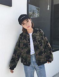 Women's Casual/Daily Simple Jackets,Camouflage Long Sleeve Fall / Winter Green Polyester Medium