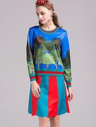 Damen Druck Anspruchsvoll Lässig/Alltäglich T-shirt Rock Anzüge,Rundhalsausschnitt Herbst Langarm Blau Andere