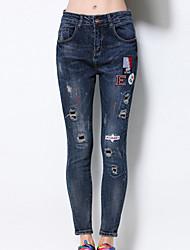 Damen Übergrössen Skinny Jeans Hose-Lässig/Alltäglich Vintage einfarbig Ripped Hohe Hüfthöhe Reisverschluss Baumwolle Unelastisch Winter