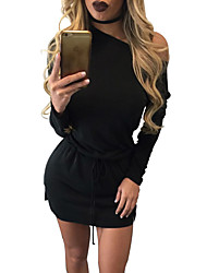 Women's Casual/Daily / Club Sexy / Simple Bodycon Bow Bandage DressSolid One Shoulder Above Knee Long Sleeve Spring / FallMid