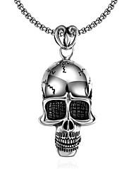 Homme Pendentif de collier Forme de Tête de Mort Acier inoxydable Original Pendant Style Punk Personnalisé Hip-Hop Pierre euroaméricains