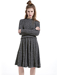 Women's Casual/Daily Simple Winter Skirt Suits,Solid Round Neck Long Sleeve Brown / Gray Cotton / Polyester