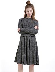 Damen Solide Einfach Lässig/Alltäglich Rock Anzüge,Rundhalsausschnitt Winter Langarm Braun / Grau Baumwolle / Polyester