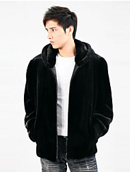 Men's Plus Size Street chic Fur Coat,Solid Hooded Long Sleeve Winter Black Faux Fur Thick