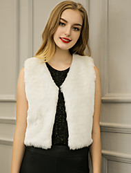 Women's Going out / Casual/Daily / Holiday Vintage / Simple / Street chic Jackets,Solid V Neck Sleeveless Spring / FallWhite / Black /