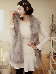 Women's Going out / Casual/Daily Cute Jackets,Solid Shirt Collar Sleeveless Fall / Winter Gray Faux Fur Thick