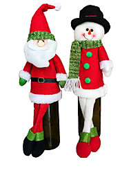 2 Set Cute Sweater Red Wine Bottle Cover Bags Santa Claus Dinner Table Decoration Clothes With Hats Home Party Decors