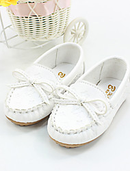 Girls' Flats Spring Summer Fall Comfort PU Outdoor Casual Flat Heel Bowknot White Yellow Blushing Pink