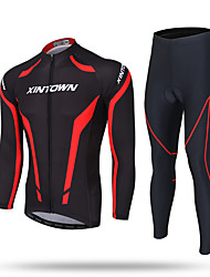XINTOWN Cycling Jersey with Tights Men's Long Sleeve Bike Pants/Trousers/Overtrousers Tracksuit Zip Top Fleece Jackets Jersey TopsThermal