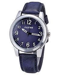 Fashion Brand FEIFAN Bronze Case Male Size Casual Men Leather Quartz Watch