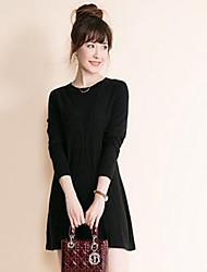 Damen Standard Pullover-Lässig/Alltäglich Einfach Solide Blau Rot Beige Schwarz Rundhalsausschnitt Langarm Polyester Herbst Winter Mittel